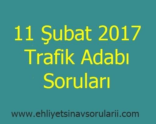 11 Şubat 2017 Trafik Adabı Soruları